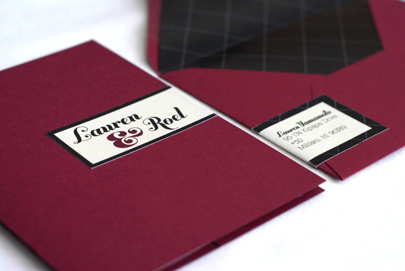 Description Hand bound booklet style wedding invitation with included main