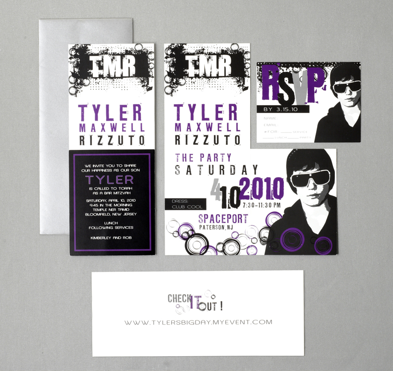 modern black purple and silver bar mitzvah invitation adori