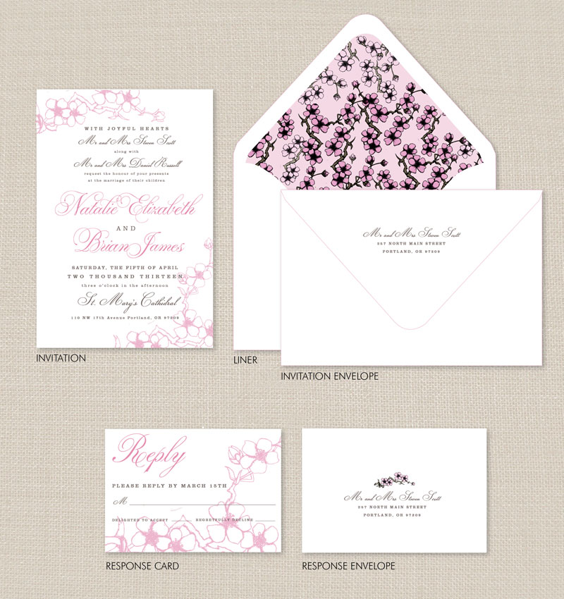 Charming Cherry Blossom Wedding Invitations | Adori Designs: Custom Wedding  Invitations And Announcements Serving Worldwide