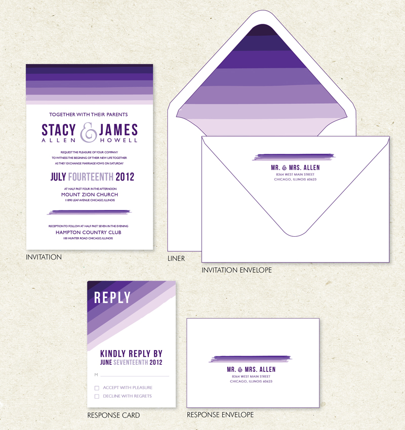 Modern Ombr Wedding Invitation Suite Colors Purple Ombr Also available
