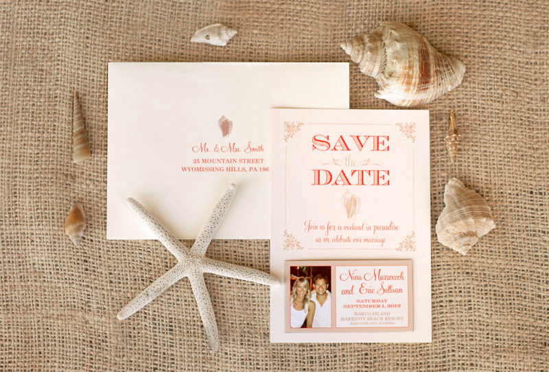 Conch Shell Save The Dates Adori Designs Custom Wedding Invitations And An