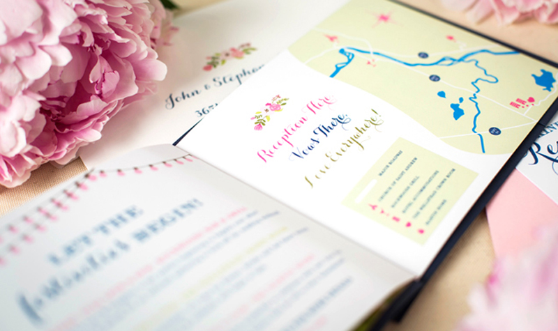 peony-wedding-invitaiton-booklet-map