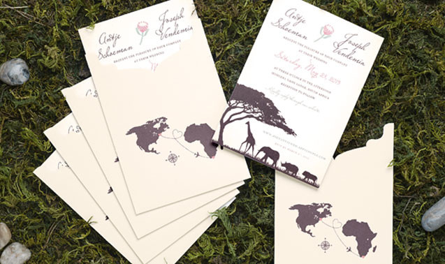 South African Safari Wedding Invitation Adori Designs Custom Invitations And Announcements Serving Worldwide